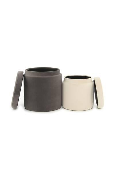 Hocker (2er-Set) grau elfenbein »Zora«