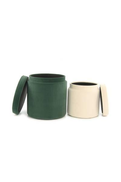 Hocker (2er-Set) grün elfenbein »Zora«