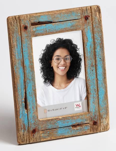 Portraitrahmen blau-natur 10x15 »Dupla«