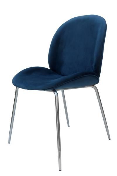 Polsterstuhl 110 (2er-Set) blau chrom »Charlize«