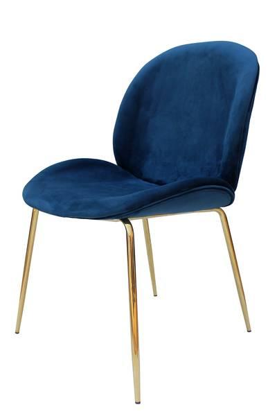 Polsterstuhl 110 (2er-Set) blau messing »Charlize«