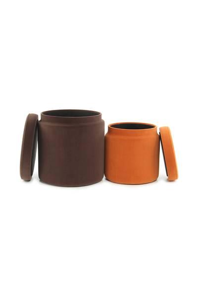 Hocker (2er-Set) braun orange »Zora«
